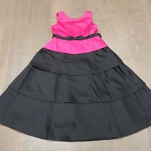Pink and Black Girl's Biscotti Satin Long Dress